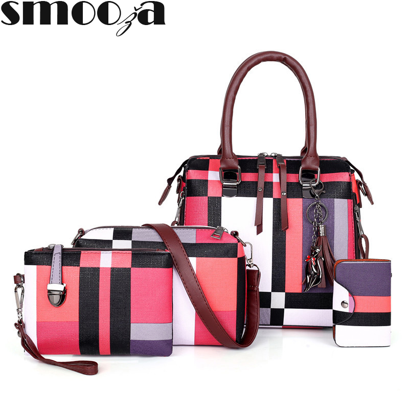 SMOOZA Luxury Handbags plaid Women Bags Designer 2019 tassel Purses and Handbags Set 4 Pieces Bags Female Bolsa Feminina