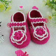 Handmade Crochet Baby shoes / white girl shoes with rose red flower / knit lovely crib shoes for newborn -12months