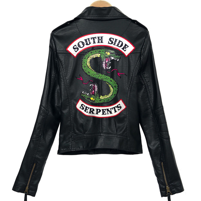 Women Riverdale Leather Jackets Winter Slim Motorcycle Bomber Jacket Coats South Side Serpents Printed Black Wine Red