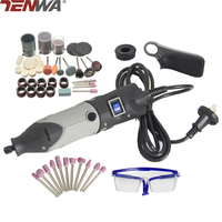 TENWA Mini Drill Dremel Style Electric Rotary Tool Metalworking Engrave Grinder Variable Speed With 117pcs Accessories