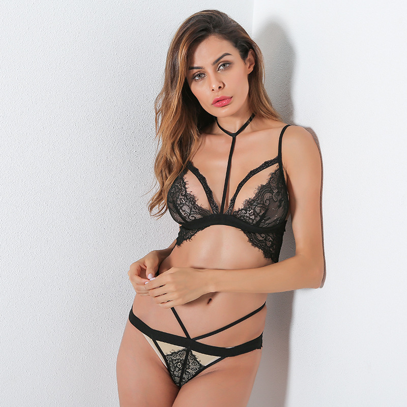 6d74ddca7ff 2017 New Flower bras underwear women set plus size lingerie sexy black  transparent bra panties lace bra set black