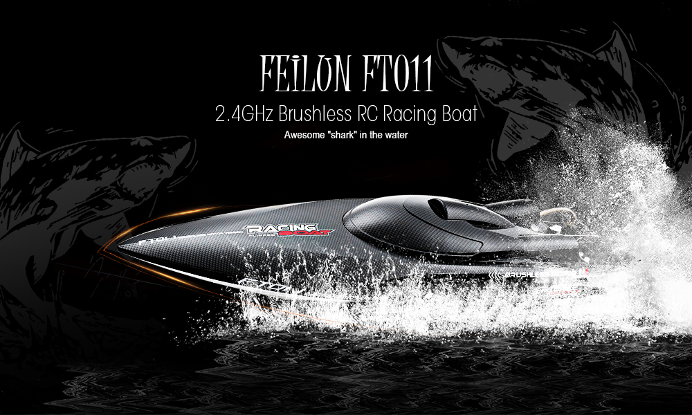 FeiLun FT011 RC Boat 2.4G High Speed Brushless Motor Built-In Water Cooling System Remote Control Racing Speedboat RC Toys Gift e22 rtr tiger teeth fiber glass racing speed boat w 2550kv brushless motor 90a esc remote control catamaran rc boat red