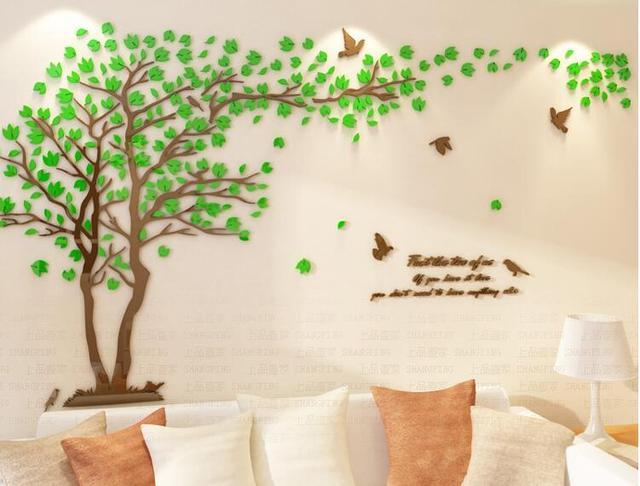 pecinta pohon kristal tiga dimensi stiker dinding ruang tamu tv sofa