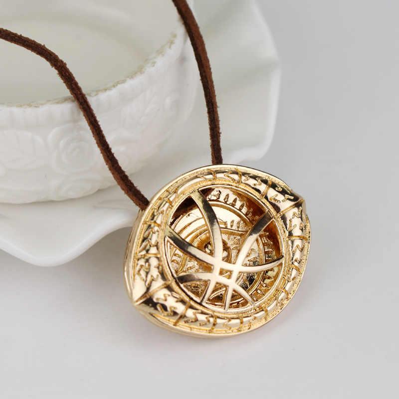 Grand docteur collier étrange Dr. Strange Steve Cosplay Agamotto pendentif pour les yeux collier en cuir véritable chaîne bijoux cadeau pour hommes