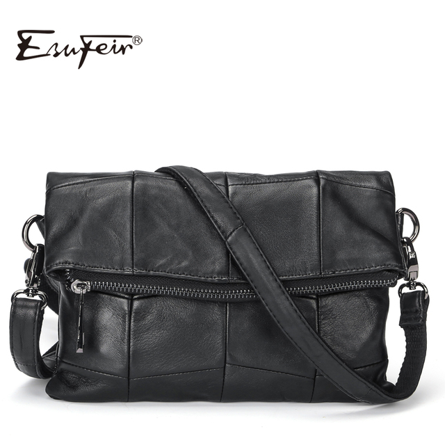 2017 ESUFEIR Brand Genuine Leather Women Messenger Bag Patchwork Sheepskin Leather Shoulder Bag Women Crossbody Bag daily Clutch