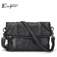 2017 ESUFEIR Brand Genuine Leather Women Messenger Bag Patchwork Sheepskin Leather Shoulder Bag Women Crossbody Bag