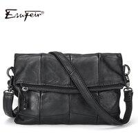 2017 ESUFEIR Brand Genuine Leather Women Messenger Bag Patchwork Sheepskin Leather Shoulder Bag Women Crossbody Bag