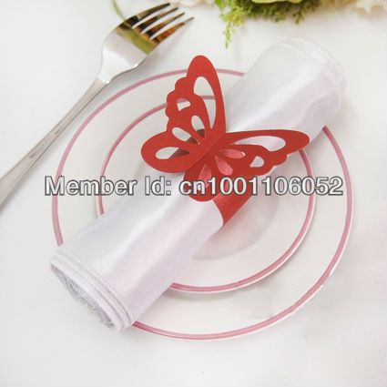 Free Shipping 50pcs High Quality Red Paper Erfly Napkin Rings Wedding Bridal Shower Holder Sample Order In From Home Garden On
