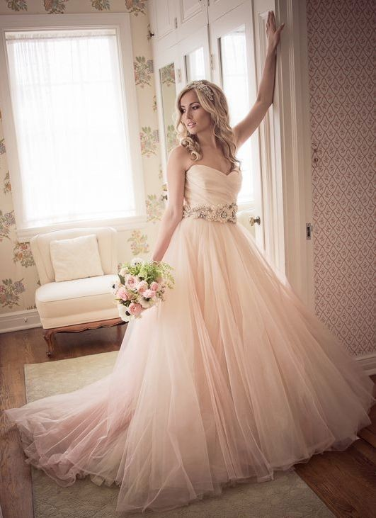2016 new fashion a line floor length sweetheart neck simple tulle skirt blush wedding dress peach colored wedding dresses zy4632