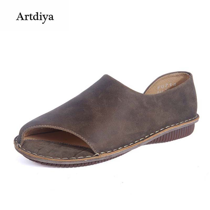 Artdiya 2018 Summer Women Shoes Handmade Art Genuine Leather Flat Peep Toe Shoes Comfortable Leisure Sandals F071A Size 35-42