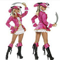 2016 New Pink Women Pirate Costume Halloween high quality Fancy Sexy Pirate Cosplay Dress new Year Carnival Party Adult Costumes