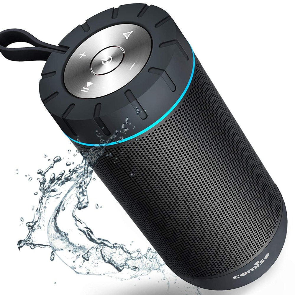 COMISO IPX5 Waterproof Wireless Portable Bluetooth Speaker With 12W 360 Surround Sound