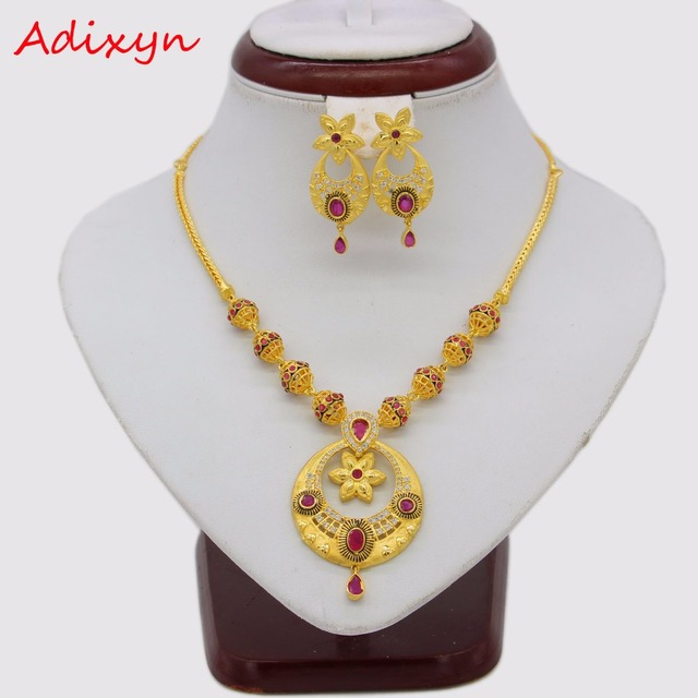 Adixyn African Red Corundum Necklace/ Earrings Jewelry Set For Women Gold Color Cubic Zirconia Ethiopian Arabic India Items