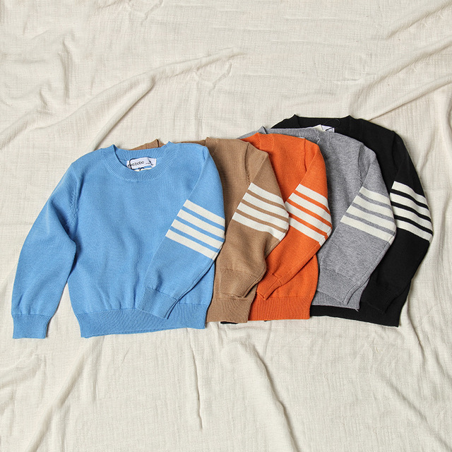 Children knitted sweaters kids casual clothes sleeve stripe sweater autumn winter pullover girls boys bottoming base shirt