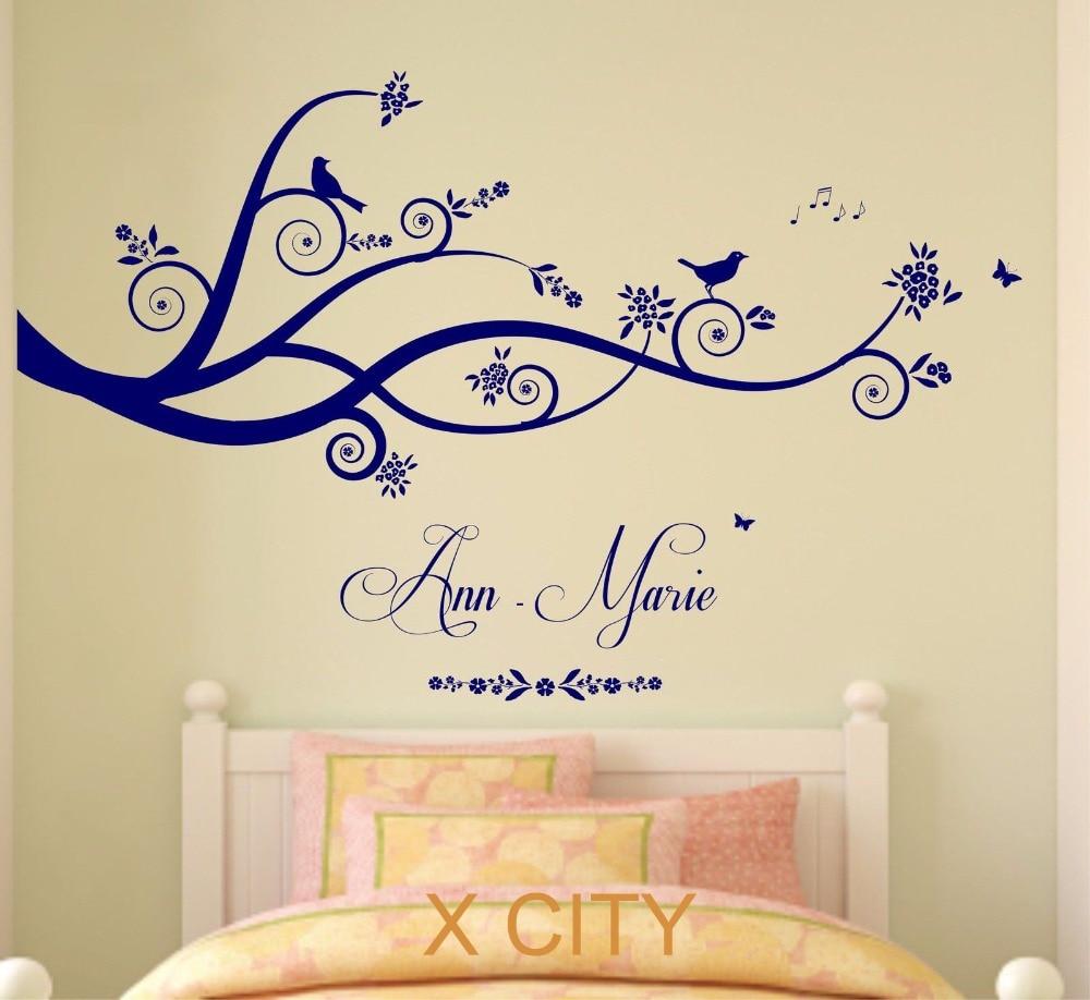 Aliexpress.com : Buy Tree Birds Butterflies Children Girl Personalised Name  Vinyl Wall Decal Art Decor Sticker Kids Bedroom Stencil Mural S M L From ...