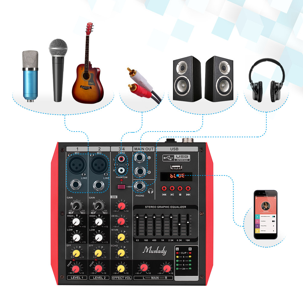 Muslady D6 Portable 6-Channel Mixing Console Mixer 7-band EQ Built-in 48V Phantom Power Supports BT Connection USB MP3 Player