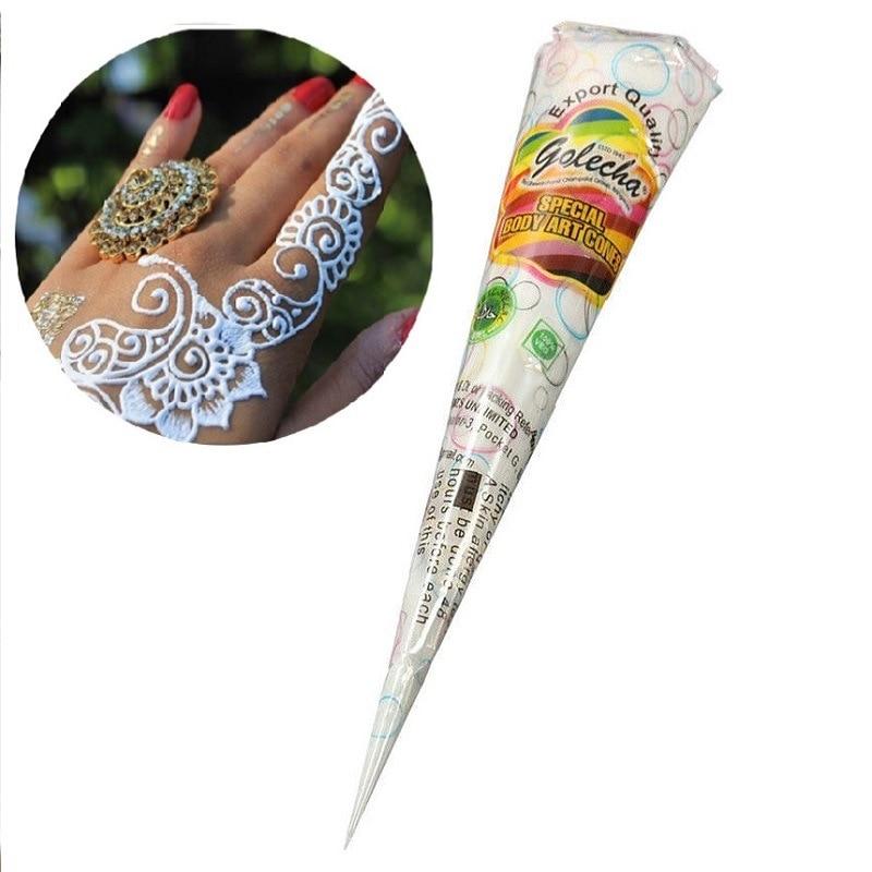 3 cone of White henna Cones tatoo cones Indian temporary tattoo For Bridal Decor body art