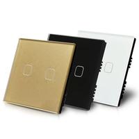 Fashion UK Three Colors Opt 2 Gang 1 Way Touch Sensor Light Switch 220V Single Live