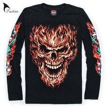 3d07e0ba204 TASTIEN Luminous Men 3D T-Shirt Skull Print High Quality Men Long Sleeves  Cotton Fluorescent