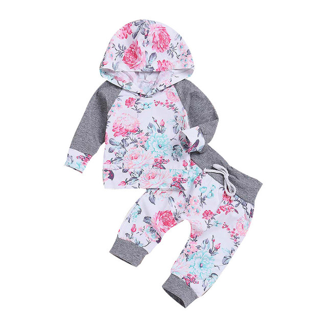 f8c4aba36 Newborn Infant Baby Boy Girl Sweatshirts Set Floral Tops Hoodie ...