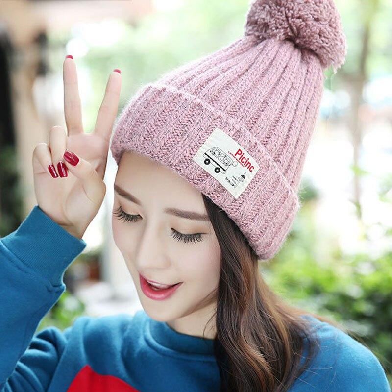 Velvet Knitted Hat Women Autumn Winter Hat For Women Hat Fashion Warm Skullies Beanies Female Cap Free Shipping
