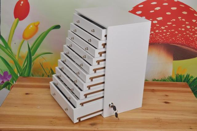 Genial 10 Drawer Wood Storage Drawer Jewelry Box Wooden Makeup Sundries Necklace  Earring Ring Gift Holder