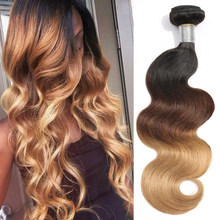 Lumiere Hair Ombre Brazilian Hair Weave Bundles Body Wave 3 Tone T1B/4/27 Non Remy Ombre Human Hair Bundles Can buy 3/4 Bundles(China)