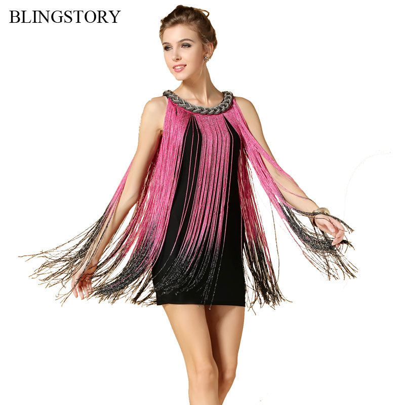 BLINGSTORY Europe high quality metal neck elegant novelty tassel drees women vestido festa luxo dropship BY9984 ...