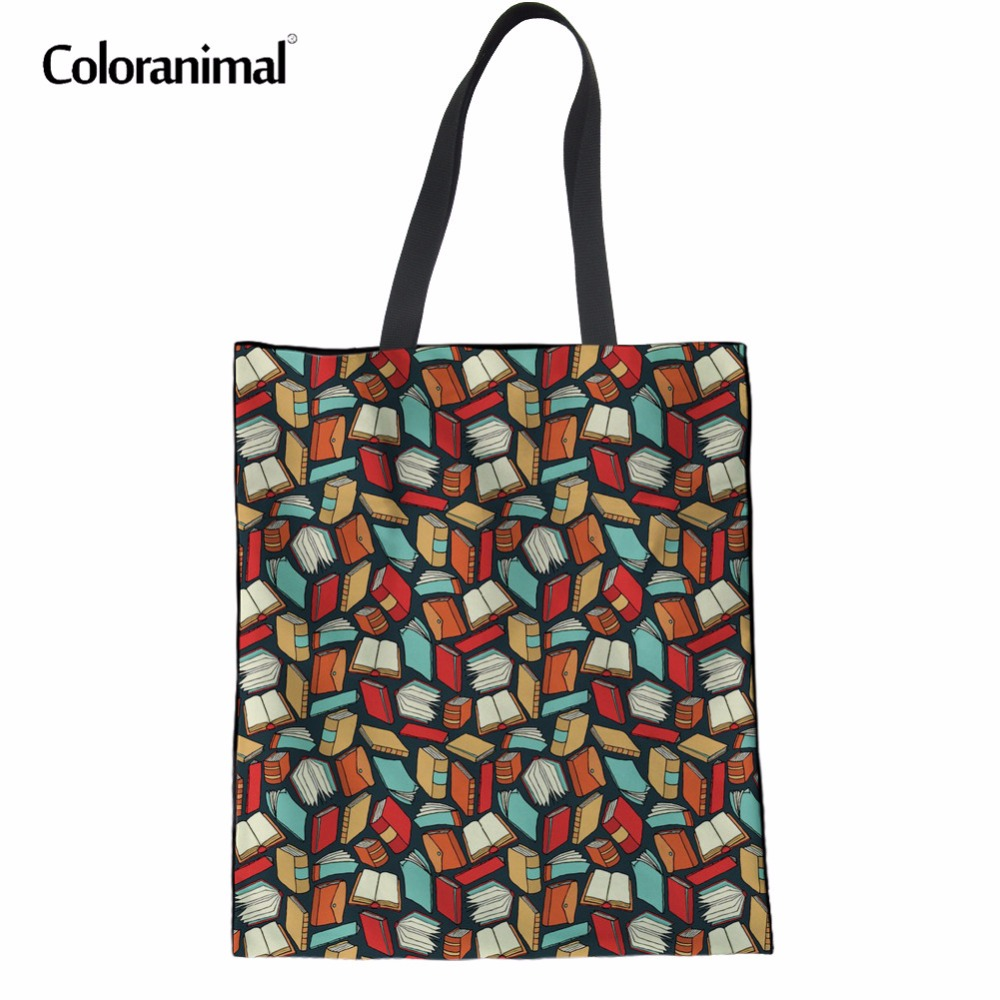 Coloranimal Tote Handbags for Ladies Casual Women Designer Daily Shopping Bag Cartoon Book Lovers Printed Mochilas Shoulder Bags