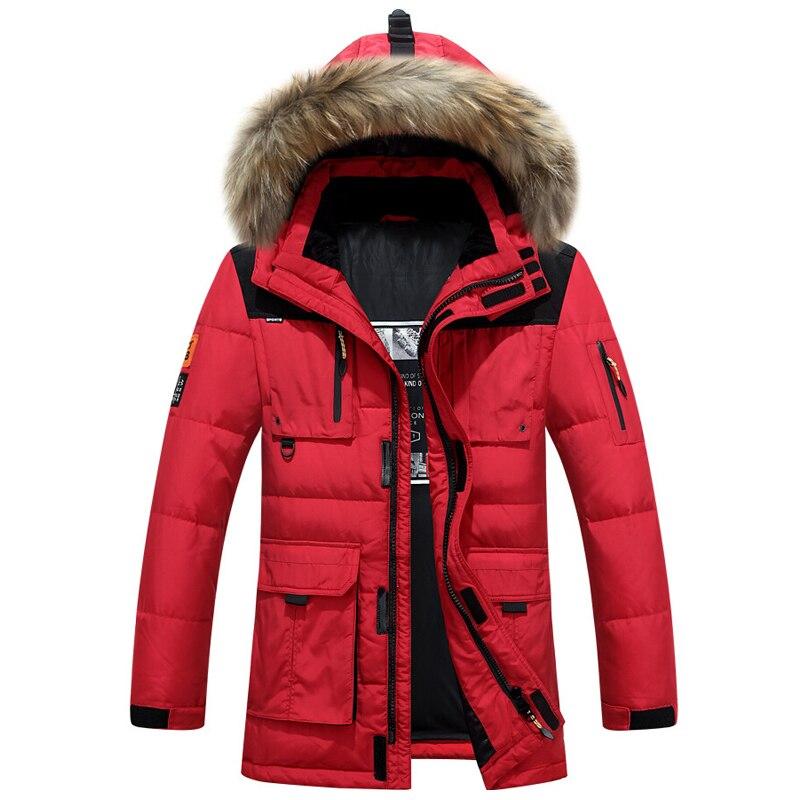 Зимние куртки Для мужчин вниз утепленная парка высокое качество меховой воротник с капюшоном теплая куртка Канада Для мужчин s Верхняя одеж...