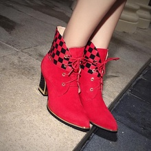 Pointy Toe Black Red Sheepskin Suede Stitching Plaid PU Lace-up Thick Heels Ankle Boots Discount Hot Sale Women Booties Shoes