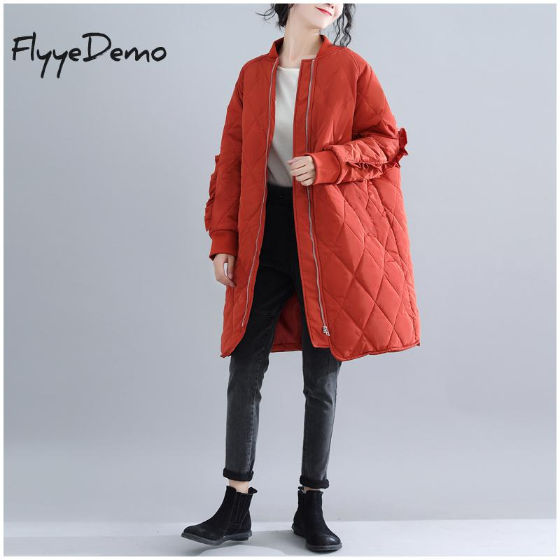Women Oversized Ruffle Sleeve   Parka   Cotton Liner Wateproof Windproof Winter Basic Style Solid Loose Plus Size Zipper Jacket Coat