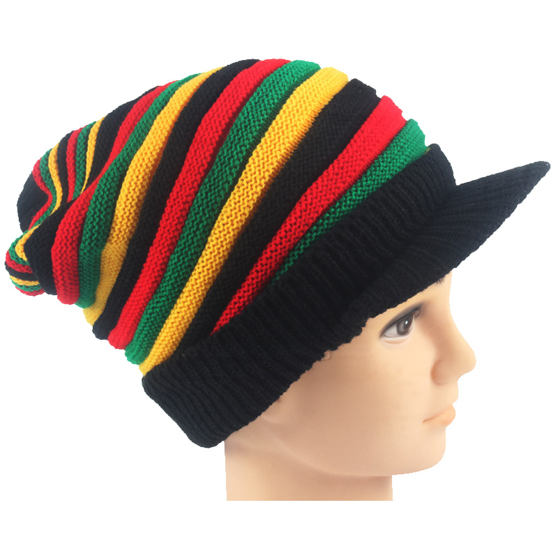 Bonnet Beanie Marley Reggae Rasta Yellow Winter Green Wool Fashion Women New Bob Red
