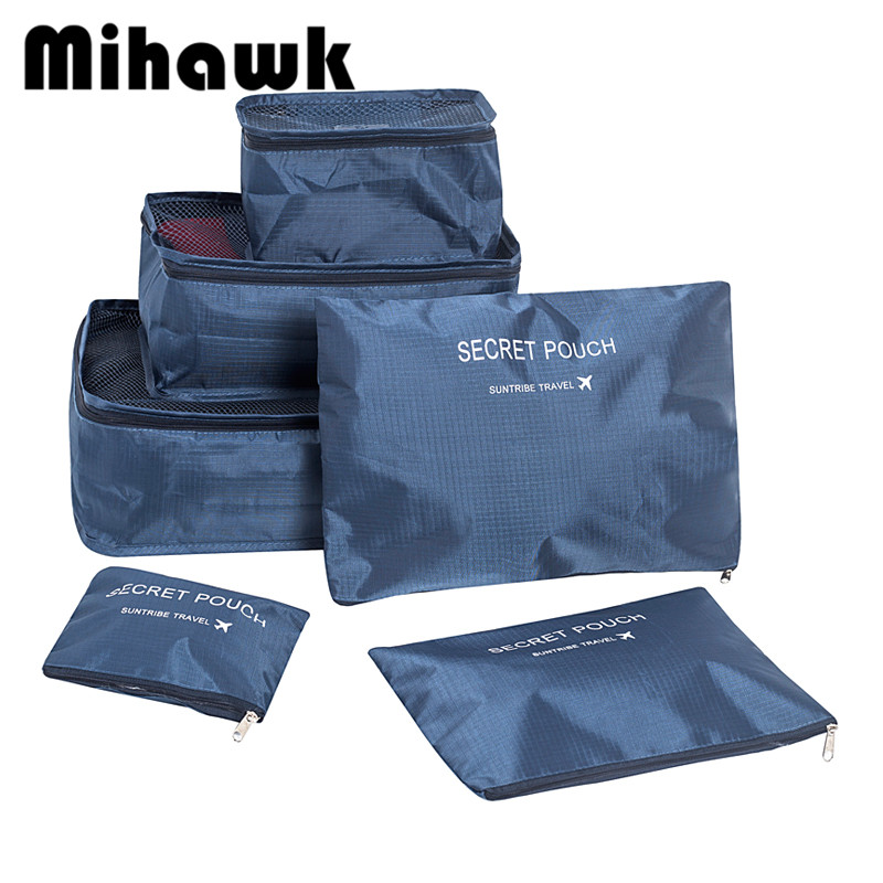 Mihawk Set Of 6 Travel Bag System Durable Unisex Storage Bra Underwear Organizer Clothing Cosmetic Tidy Sorting Double Zip Tote