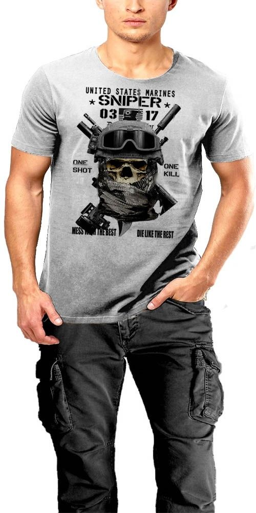 USMC Scout Снайпер футболка MOS 0317 смерть издалека морской пехоты США ONE SHOT One Kill мультфильм печати короткий рукав Футболка бесплатная доставка
