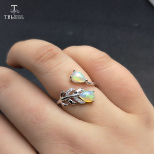 Image 5 - TBJ, pióro kamień pierścień z naturalnym etopian opal dobry ogień w 925 sterling silver fine jewelry dla dziewczyn z pudełko z biżuterią