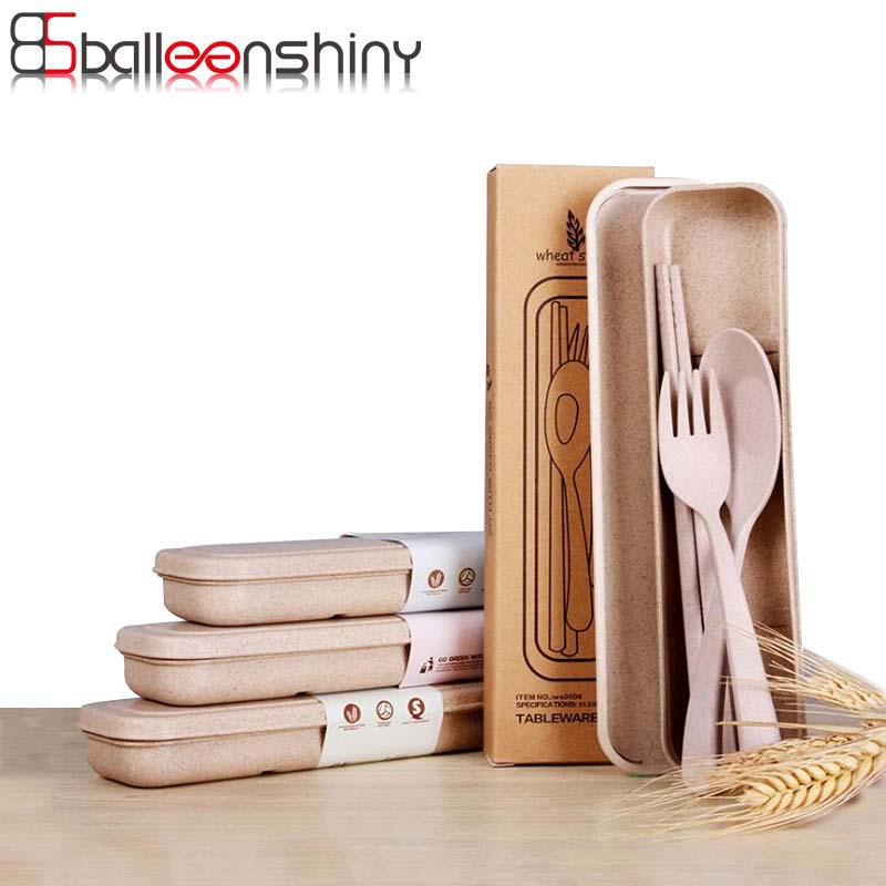 BalleenShiny Portable Degradable Wheat Straw Tableware Set Eco-Friendly Travel Kids Adult Cutlery for Camping Picnic Set Gifts