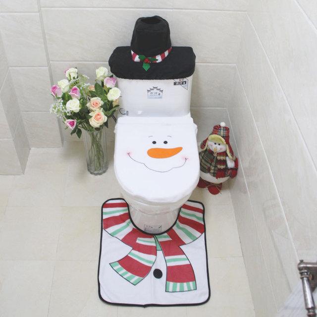 snowman bathroom sets. 3 Pcs set  Cute Christmas snowman Toilet Cover Sets for Festive Anti