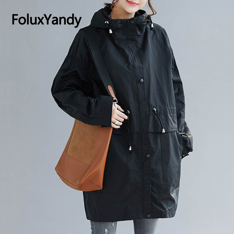 Spring Autumn Thin   Trench   Coat for Women Plus Size Casual Hooded Turtleneck Loose Long   Trench   Outerwear NQYL59