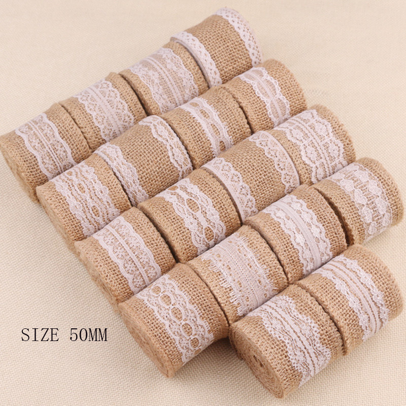 50mm Width Linen Roll Fringed Lace Ribbon For Clothing Hat Bag Home Decor Christmas Wedding Party Decorations Supplies