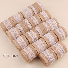 2 Meter Breedte Linnen Roll Omzoomd Kant Lint voor Kleding Hoed Tas Home Decor Kerst Wedding Party Decoraties Levert(China)