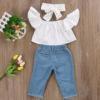 LONSANT Fashion Baby girls clothes 3PCS Baby Off shoulder Crop Tops + Broken Hole Denim Pant Jean Headband Toddler Kids Clothes