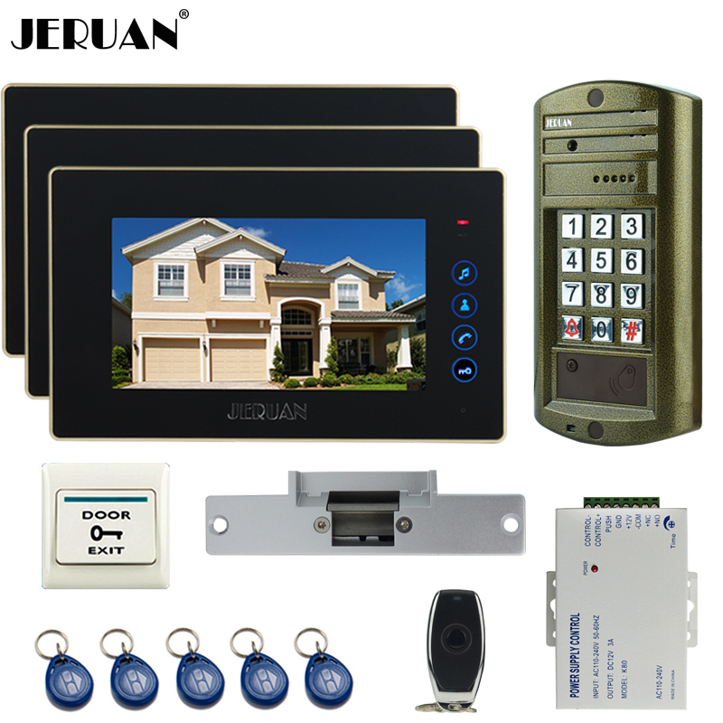 HOME Wired 7 inch TFT Video Door Phone Intercom System kit waterproof password keypad HD Mini Camera +Electric Strike lock 1V3 2m 50mm spiral wire organizer wrap tube flame retardant colorful spiral bands diameter cable casing cable sleeves winding pipe