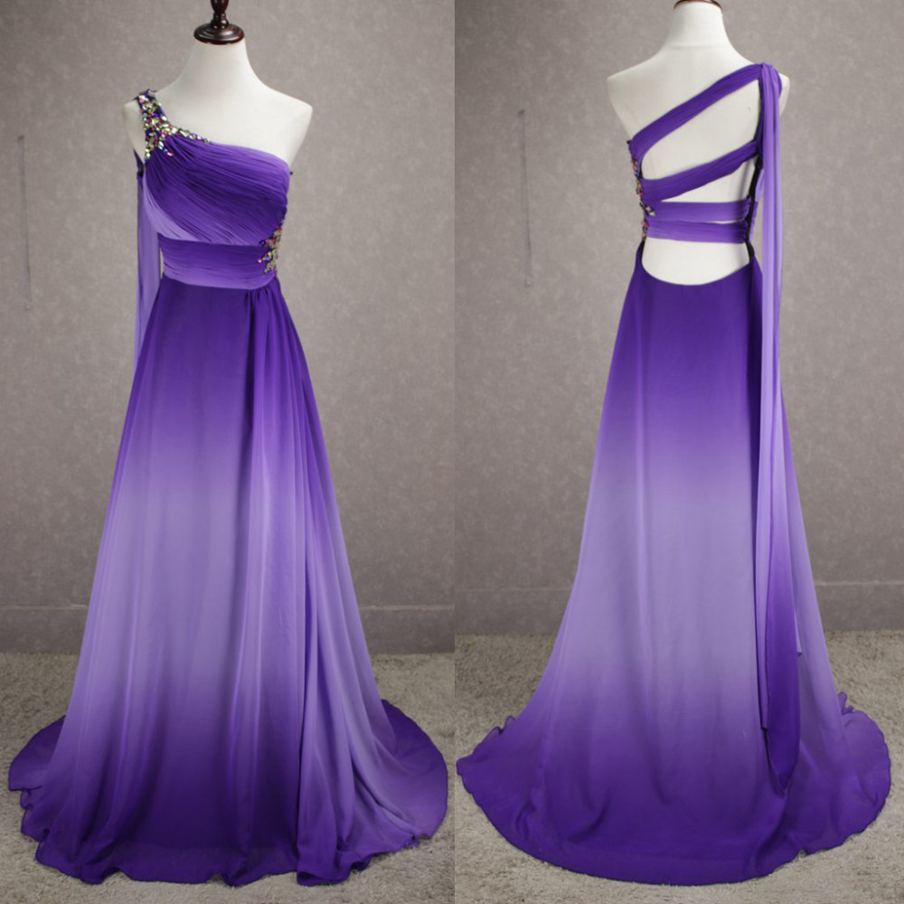 2017 Gradient Ombre Prom Dresses Long Cheap Chiffon Unique Back Real