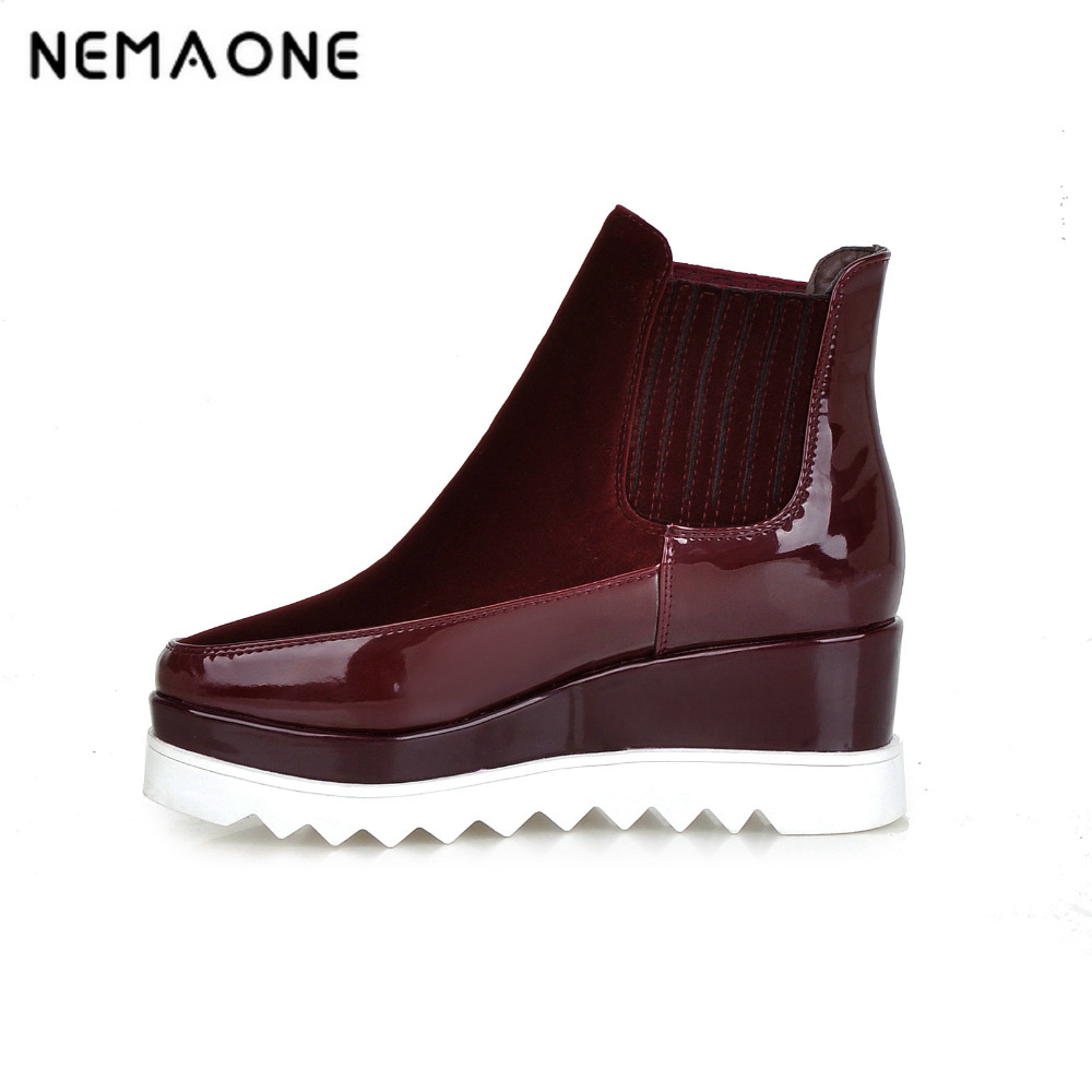 NEMAONE New women sexy patchwork wedges platform ankle boots women high heels ankle boots weding shoes woman large size 34-43