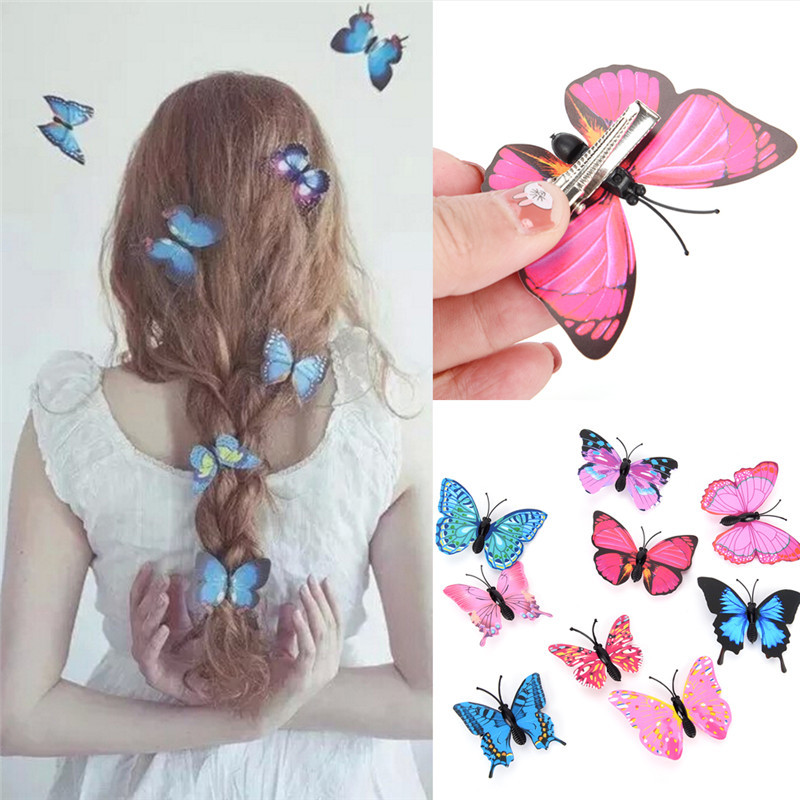 5Pcs TEROKK Women Girls Butterfly Hair Clips Wedding Pins Party Bride Hairpins Photography Barrettes Hair Band Accessories