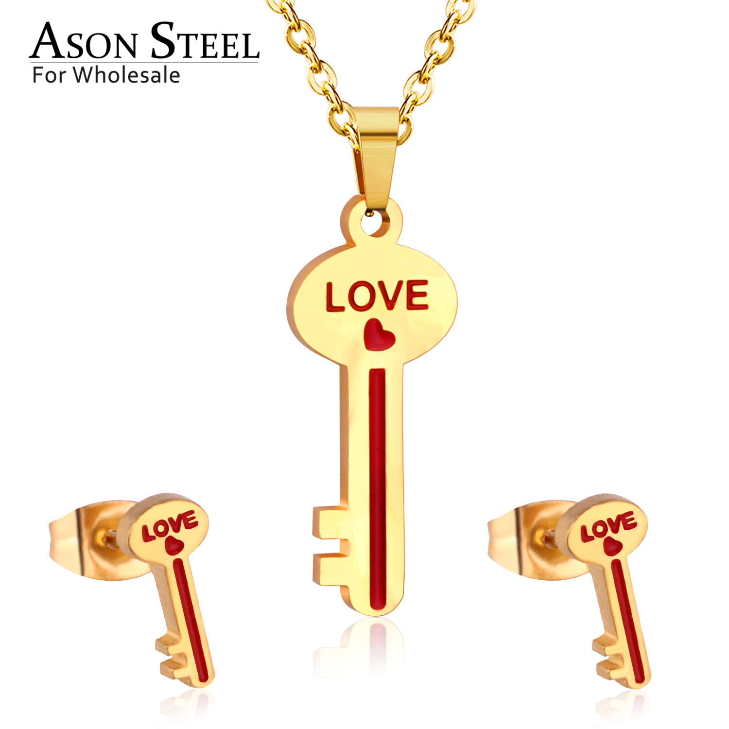ASONSTEEL Wedding-Jewelry-Set Stud-Earring Pendant Necklace 316l-Stainless-Steel Bridal-Forever