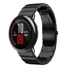 Acier inoxydable Bracelet Smart Watch de Courroie De Bande Pour Xiaomi Huami Amazfit A1602 Montre Bande Boucle Déployante Rayures Bracelet