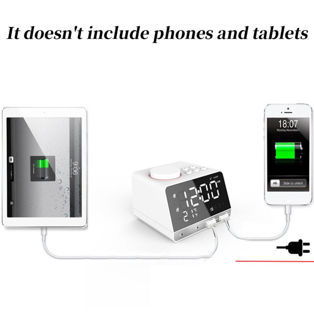 Mode Sans Fil Intelligent Sans Fil Bluetooth Lecteur de Musique Stéréo Haut-Parleur LED Double Alarme Horloge Avec Affichage Numérique FM Radio #291038