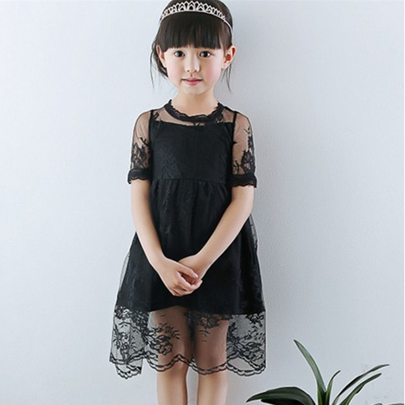 3T to 9T kids girls fashion summer lace overlay tulle princess party dresses children new black white chiffon dress clothes guipure lace overlay fit and flare dress
